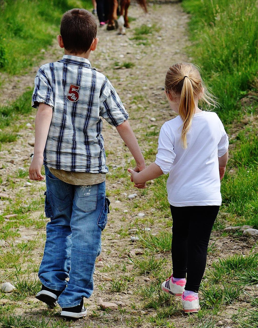 children, hand in hand, cute